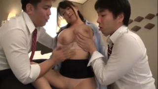 Kカップ恵体OL優月まりな、同僚男性二人にホテルで性の玩具にされてしまう!